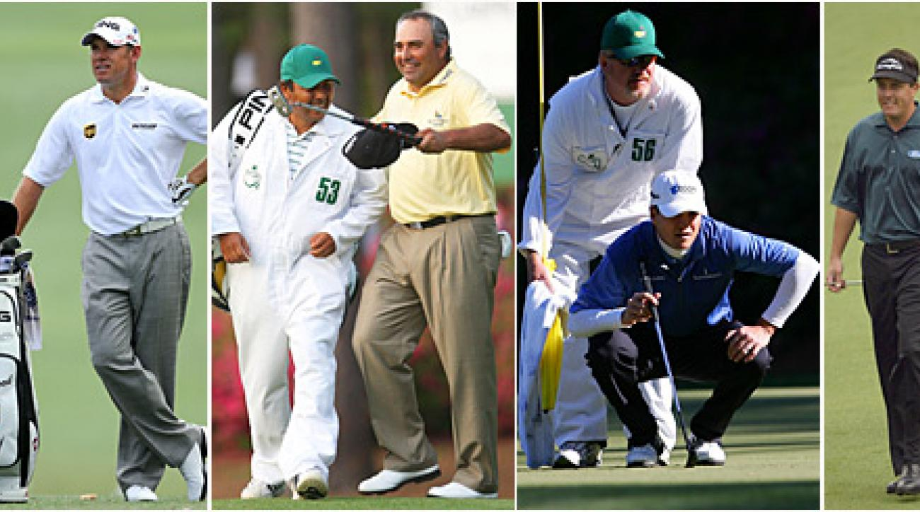 Lee Westwood's caddie, left, will wear No. 53 on Easter Sunday this year. Angel Cabrera's caddie had the number in 2009, and Phil Mickelson's in 2004. Zach Johnson, who won on Easter in 2007, was just three off with 56.