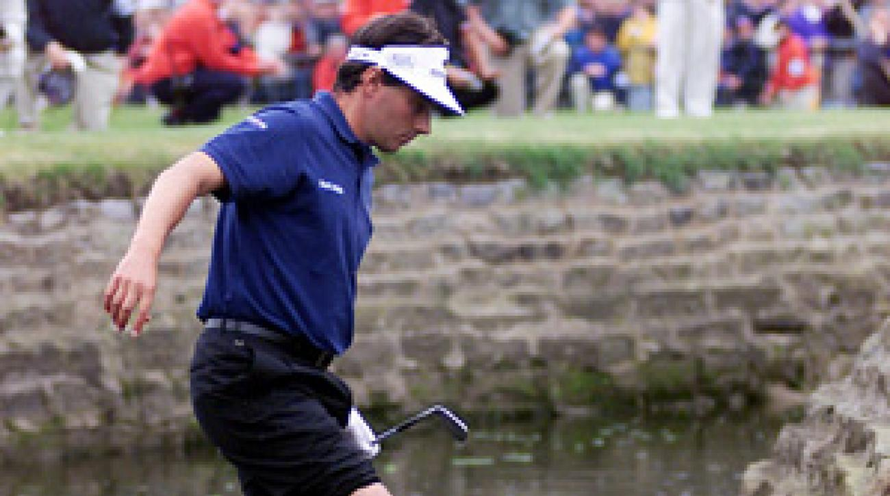 Jean Van de Velde considered playing out of the Barry Burn in '99 but thought better of it. He ended up losing the tournament in a playoff.