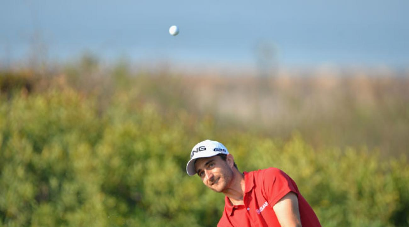 Alejandro Canizares of Spain plays a shot during the second round of the Trophee Hassan II Golf in Morocco.