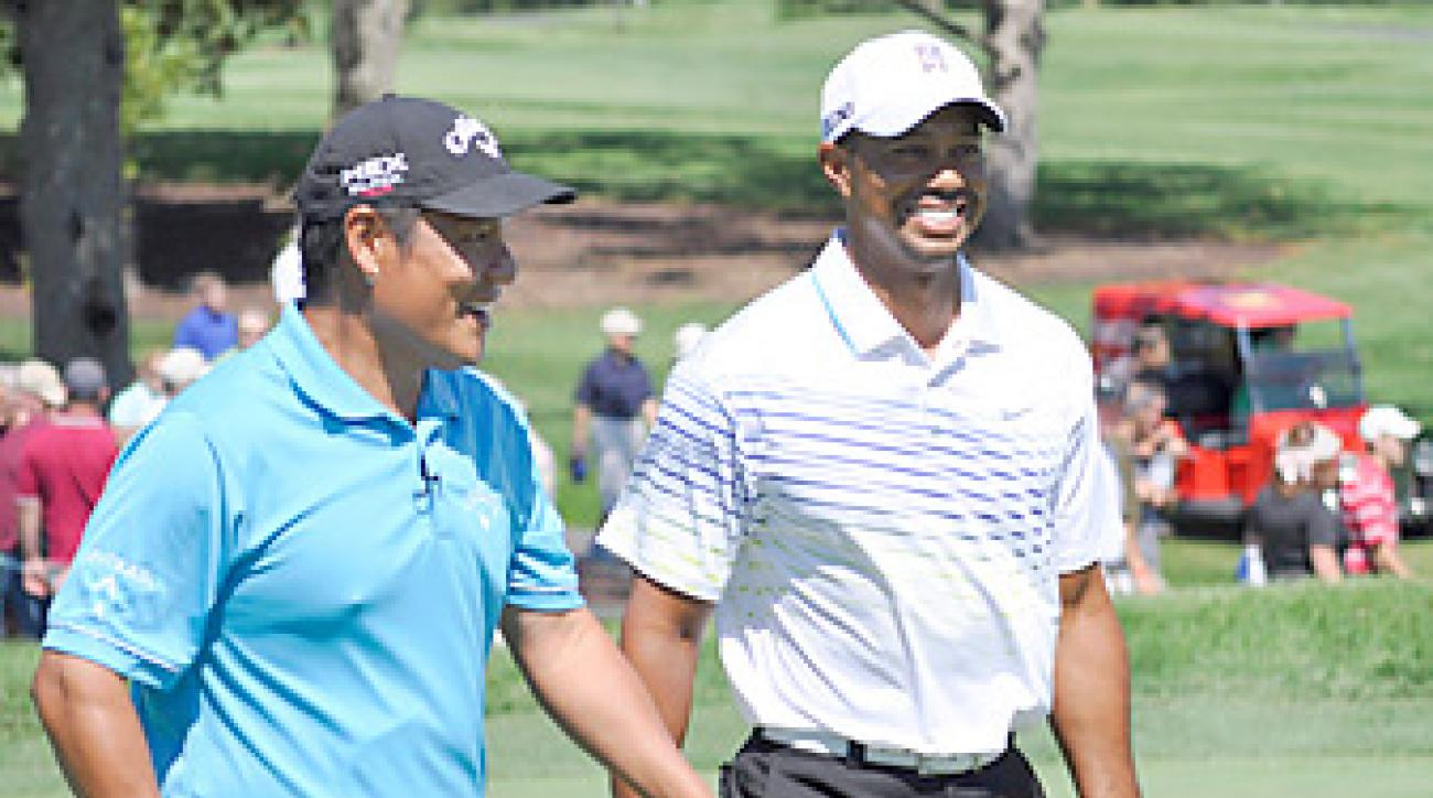 Notah Begay and Tiger Woods teamed up to shoot nine under at the NB3 Foundation Challenge.