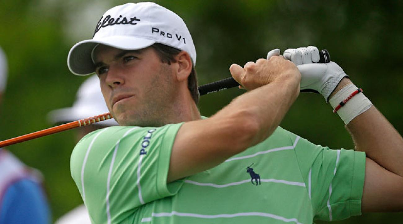 Ben Martin hits his tee shot on the 13th hole during the second round of the Zurich Classic.