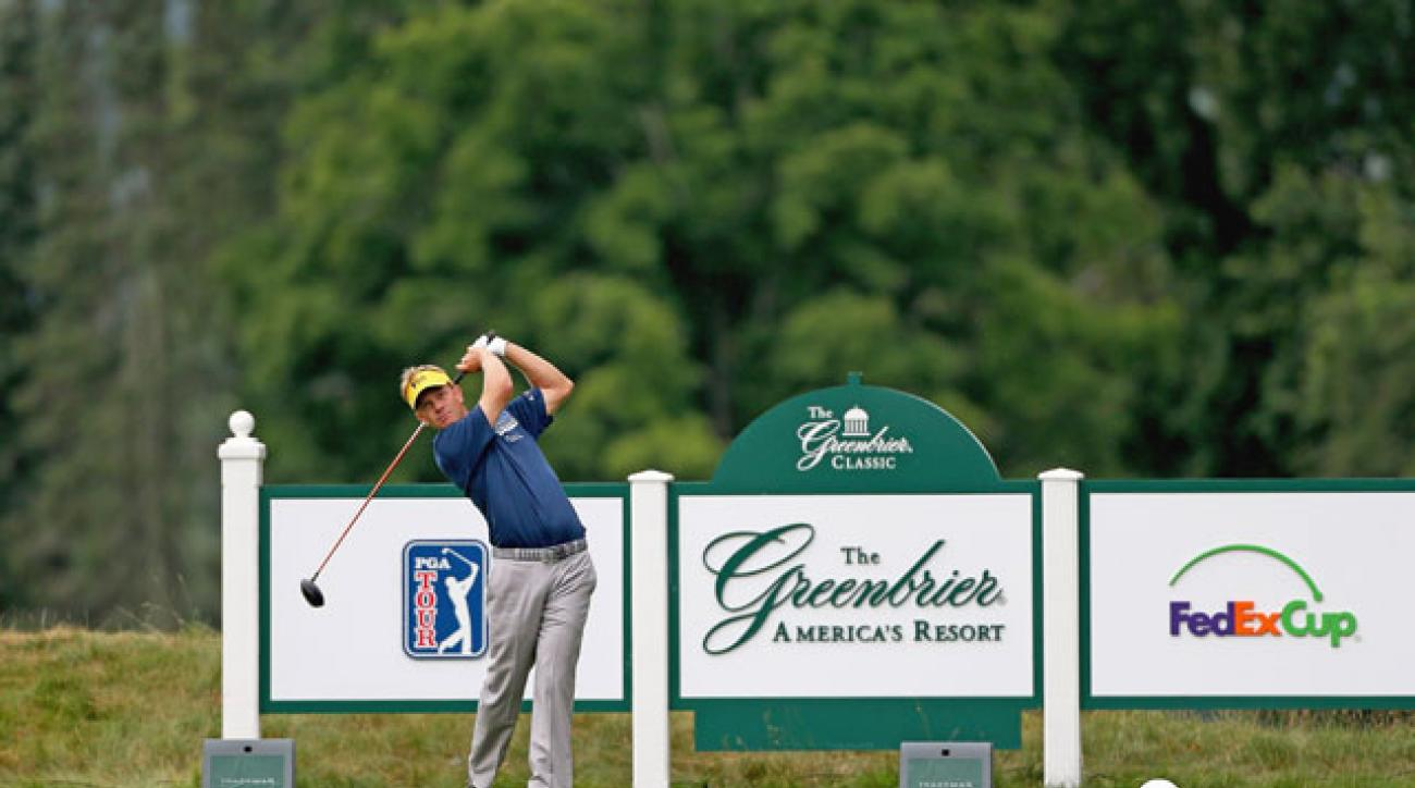 Navy veteran Billy Hurley III leads the Greenbrier Classic by a shot after the second round.