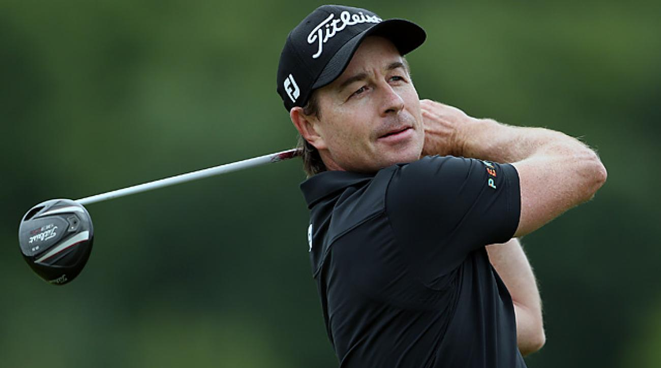 Brett Rumford of Australia finished the opening round at 8 over through 12 holes.