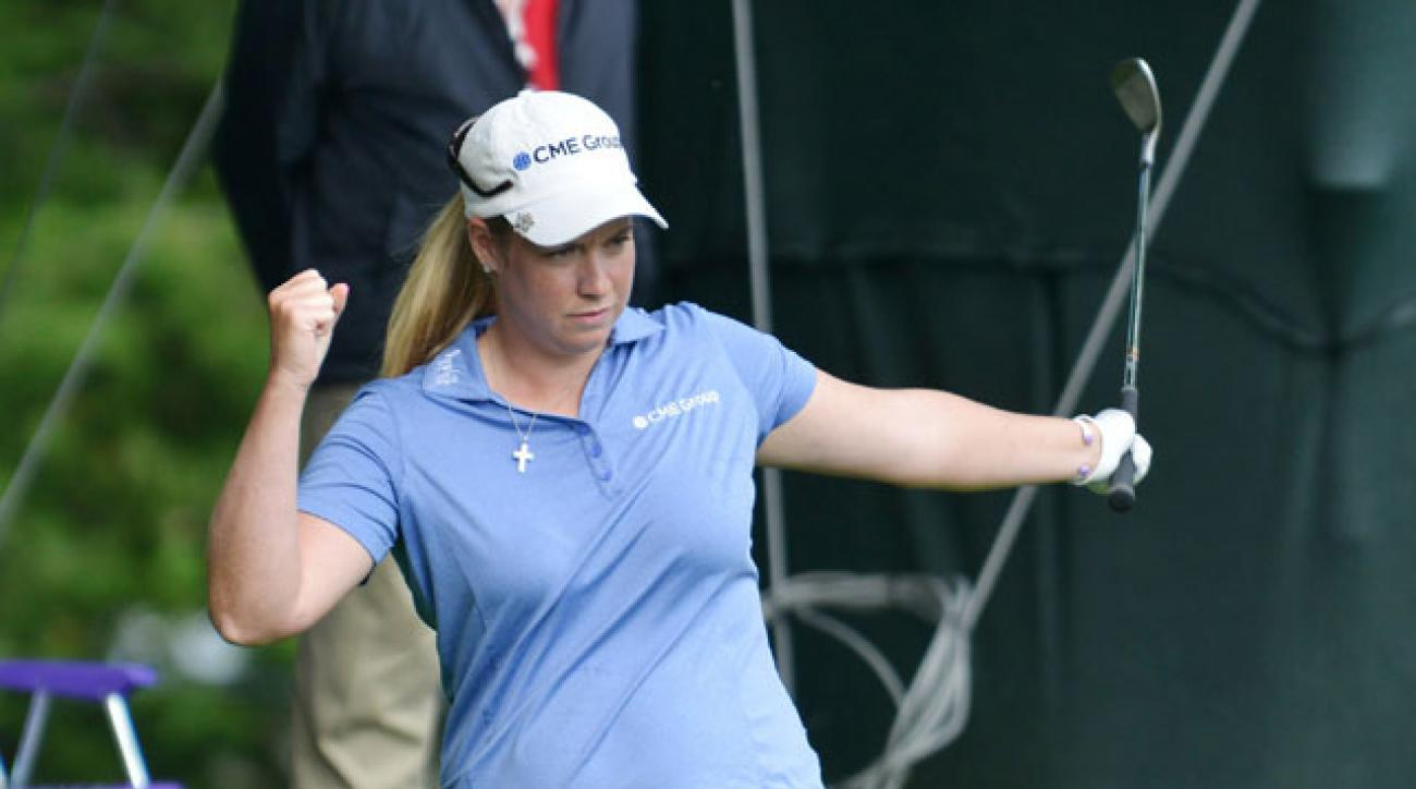 Brittany Lincicome chips in for eagle on the 14th hole during the second round of the Wegman's Championship.