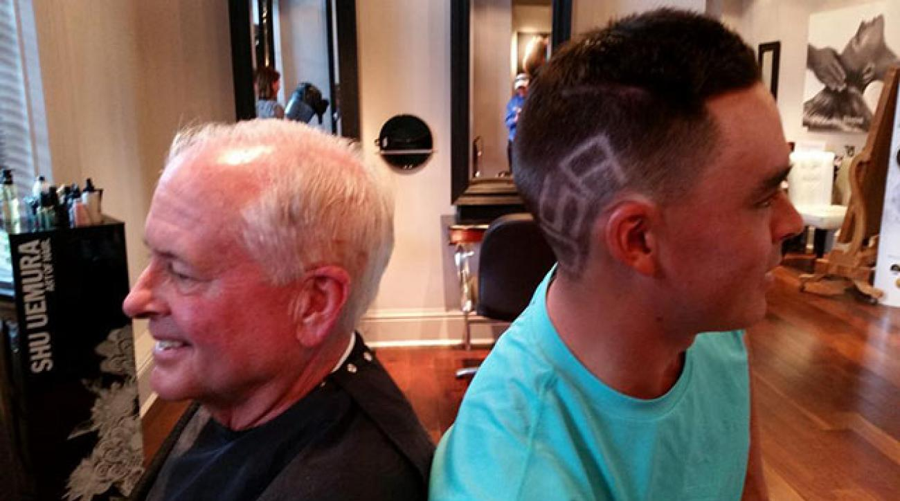 Rickie Fowler and PGA of America President Ted Bishop sporting the same haircut.