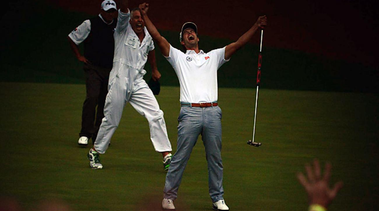 Adam Scott birdied the second hole of sudden death to win his first career major title.