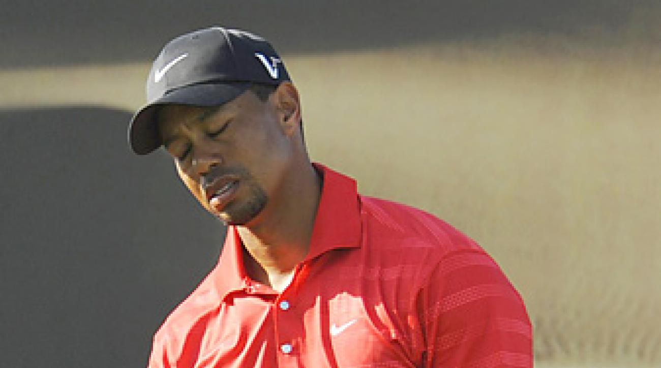 Tiger Woods hit just two of 14 fairways during a final-round 72 in Abu Dhabi.