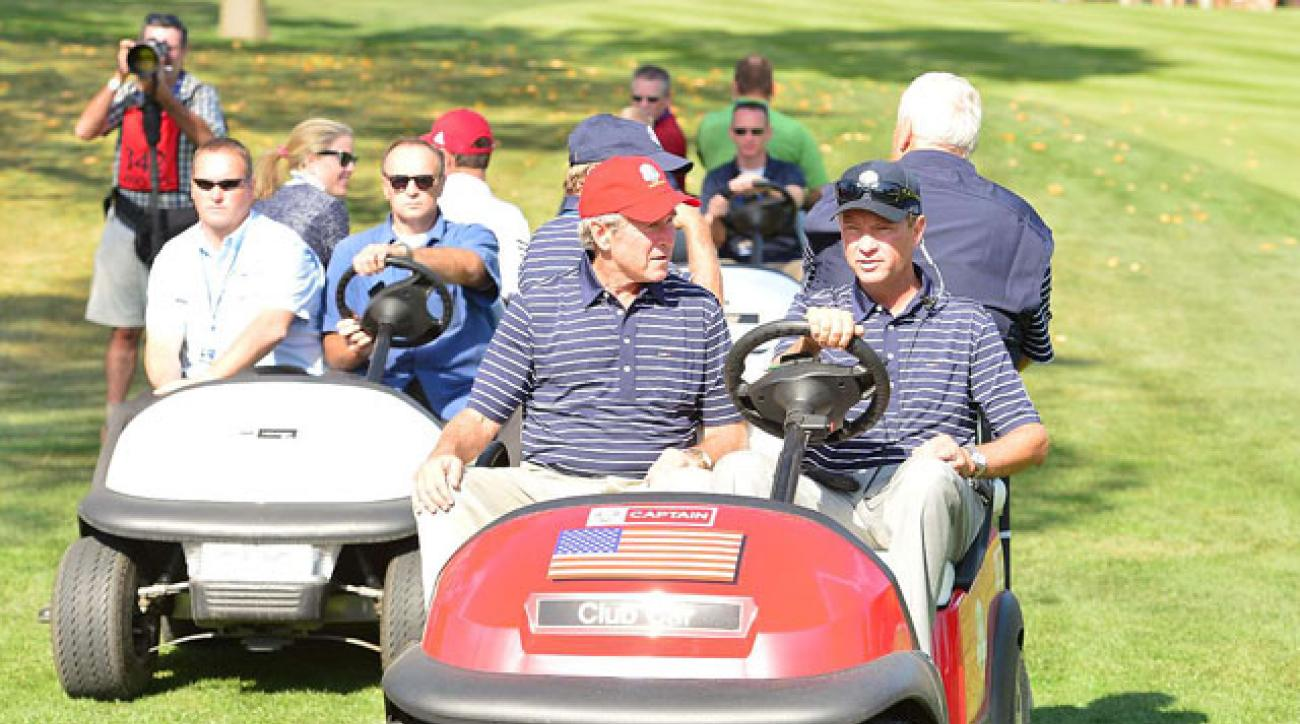 "The Ryder Cup has become a ""traveling circus"" says Davis Love III, who was joined by former President George W. Bush during the 2012 Ryder Cup at Medinah."