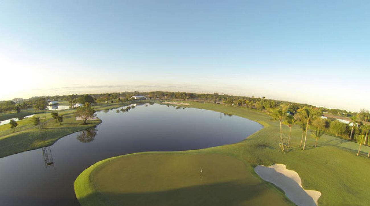 An aerial view of a green at the redesigned Blue Monster at Doral.