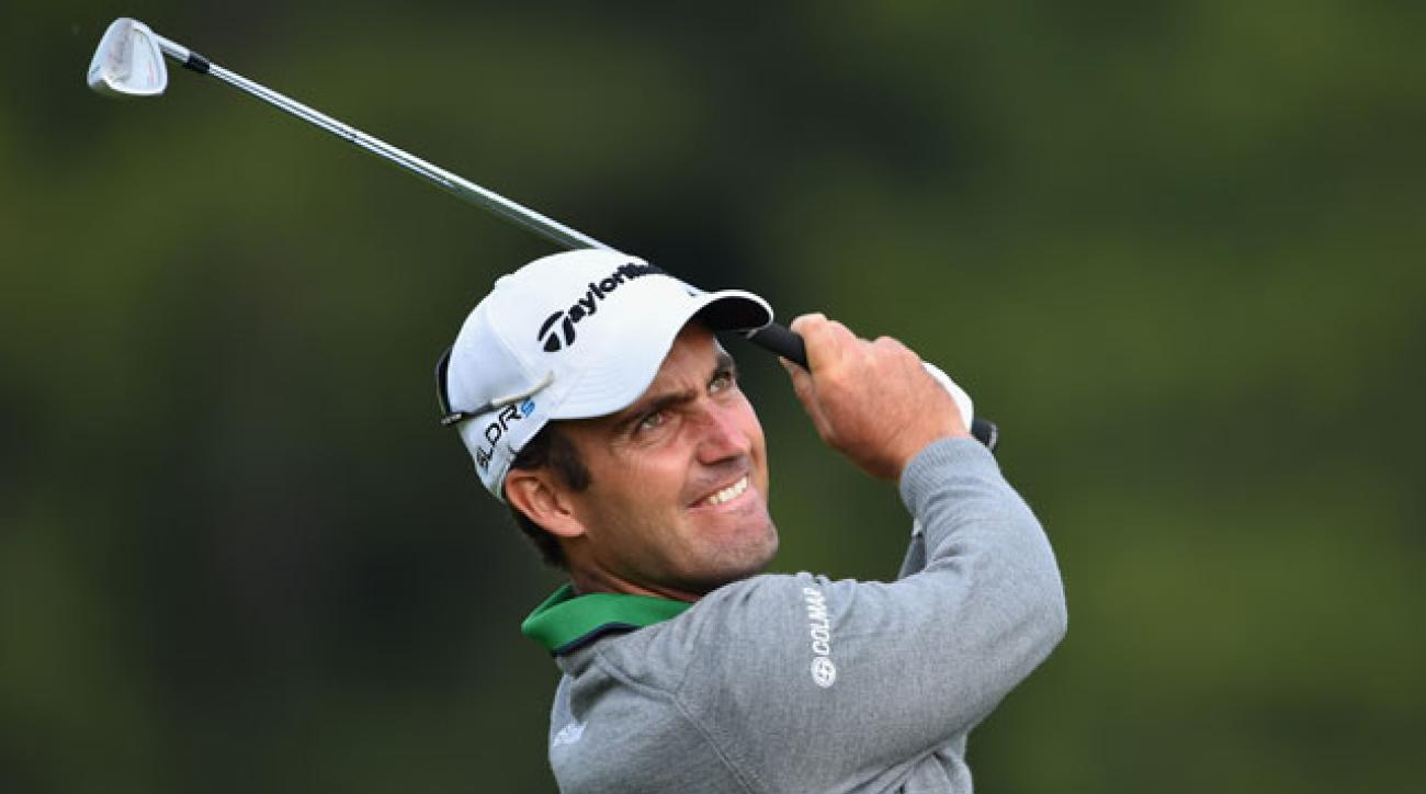 Edoardo Molinari plays a shot during the opening round of the European Masters.