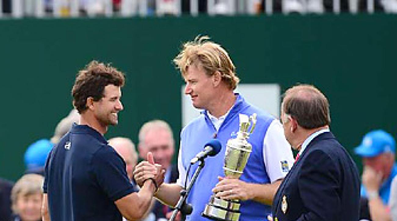 Els was humble after beating his friend Adam Scott by one shot at the British Open.