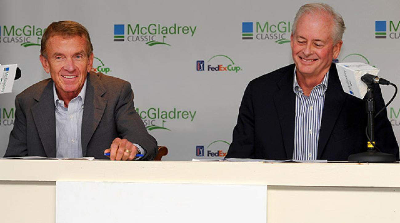 PGA Tour Commissioner Tim Finchem (left) and PGA of America President Ted Bishop announced their purse increases together in a joint press conference from Sea Island, Ga., site of The McGladrey Classic.