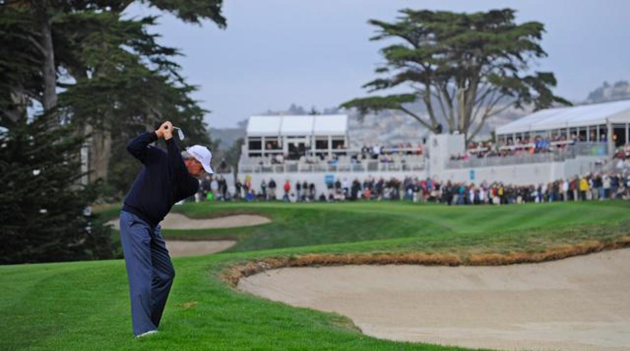 Fred Couples hits his second shot on the 18th hole at TPC Harding Park during the final round of the 2013 Charles Schwab Cup Championship.