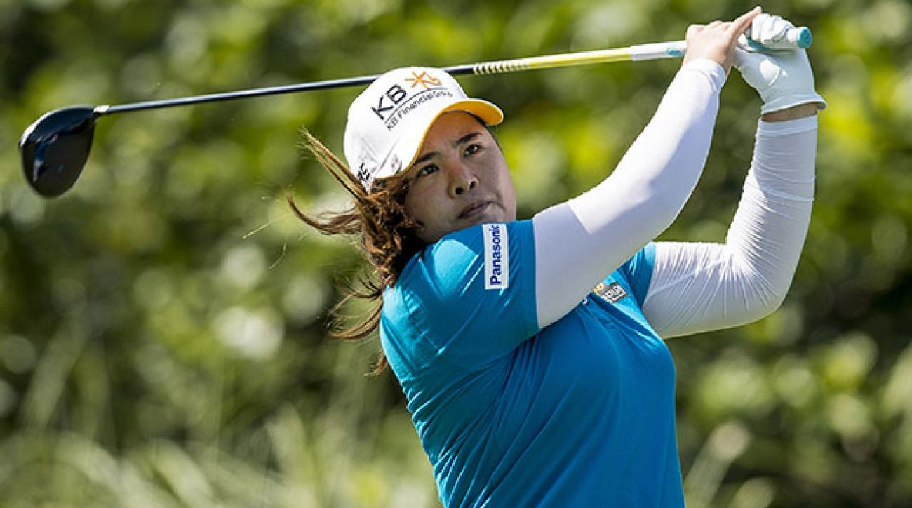 Inbee Park tees off on the fifth hole during the first round of the LPGA Taiwan Championship.