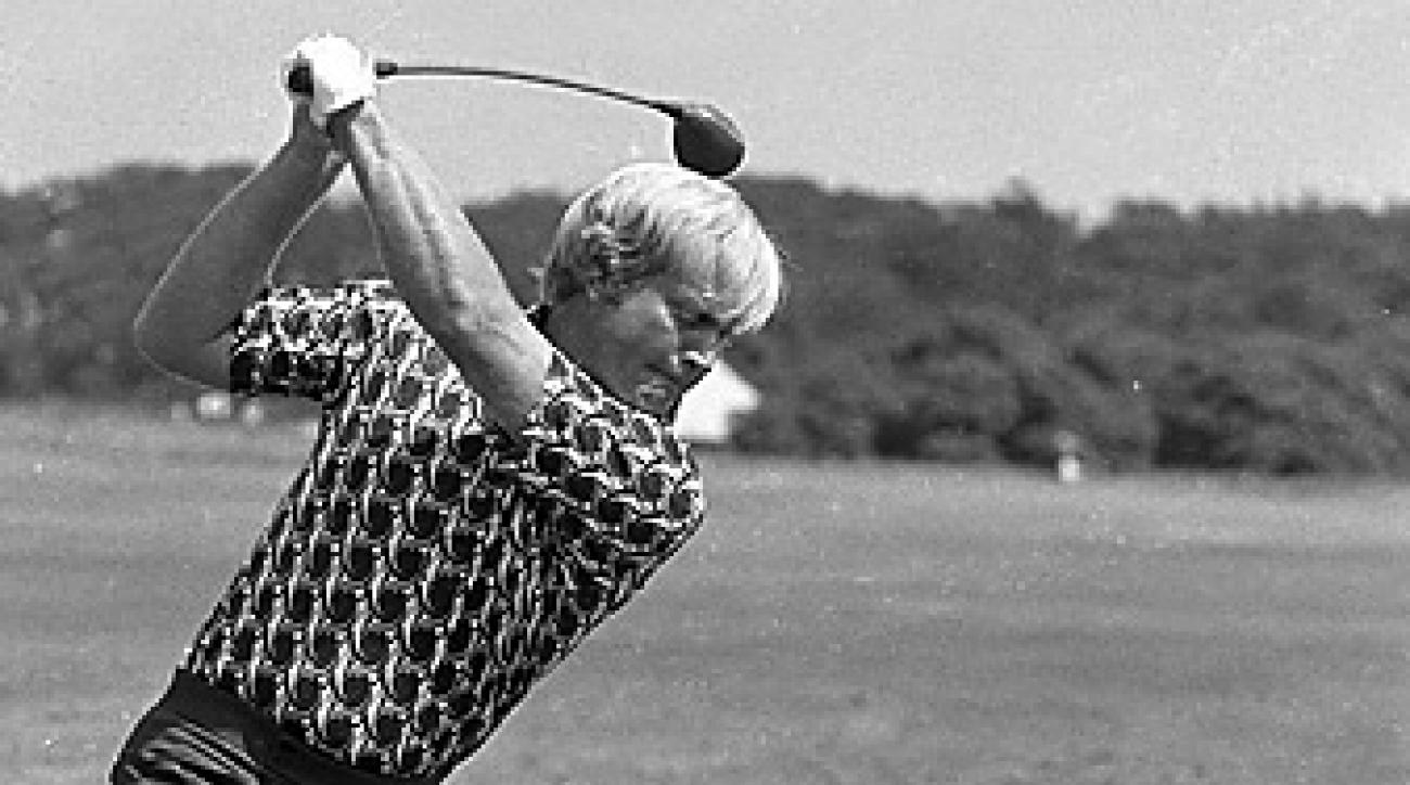 Nicklaus, shown here at the 1972 British Open, used a flying right elbow to help him hit it straighter.
