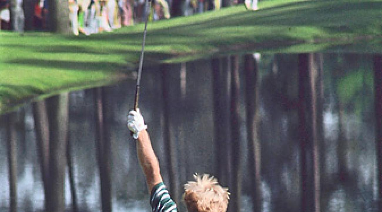 Jack Nicklaus's display at the 16th contributed to the near                 perfection of the '75 Masters, which hooked one viewer for life.