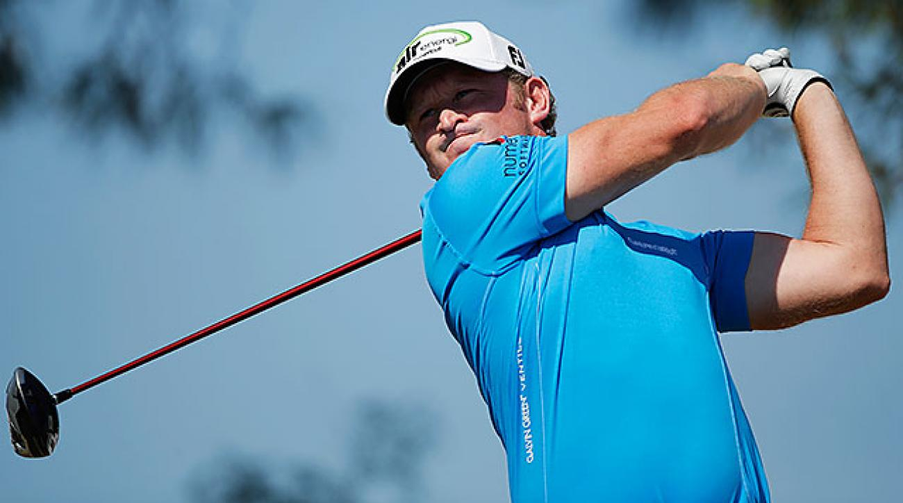 Jamie Donaldson of Wales had the lead at 7 under until he bogeyed the 8th, his 17th hole.