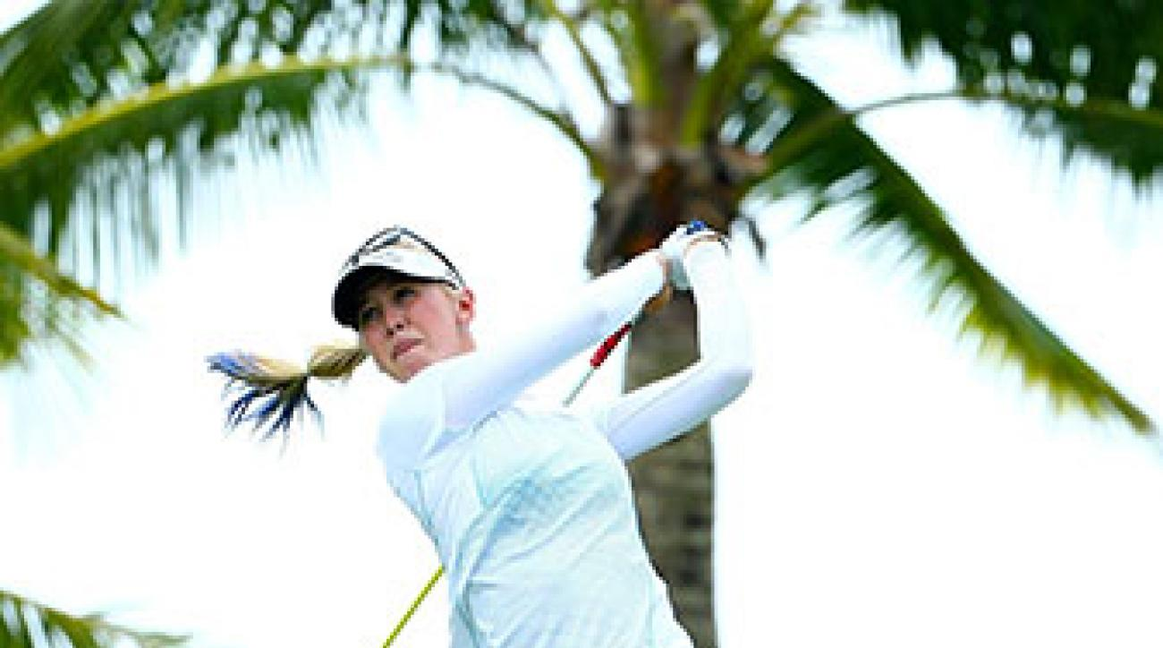 Jessica Korda tees off during the first round of the LPGA Blue Bay Championship.