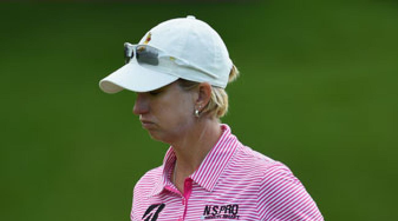 Karrie Webb pumps her fist during the third round of the Evian Championship.