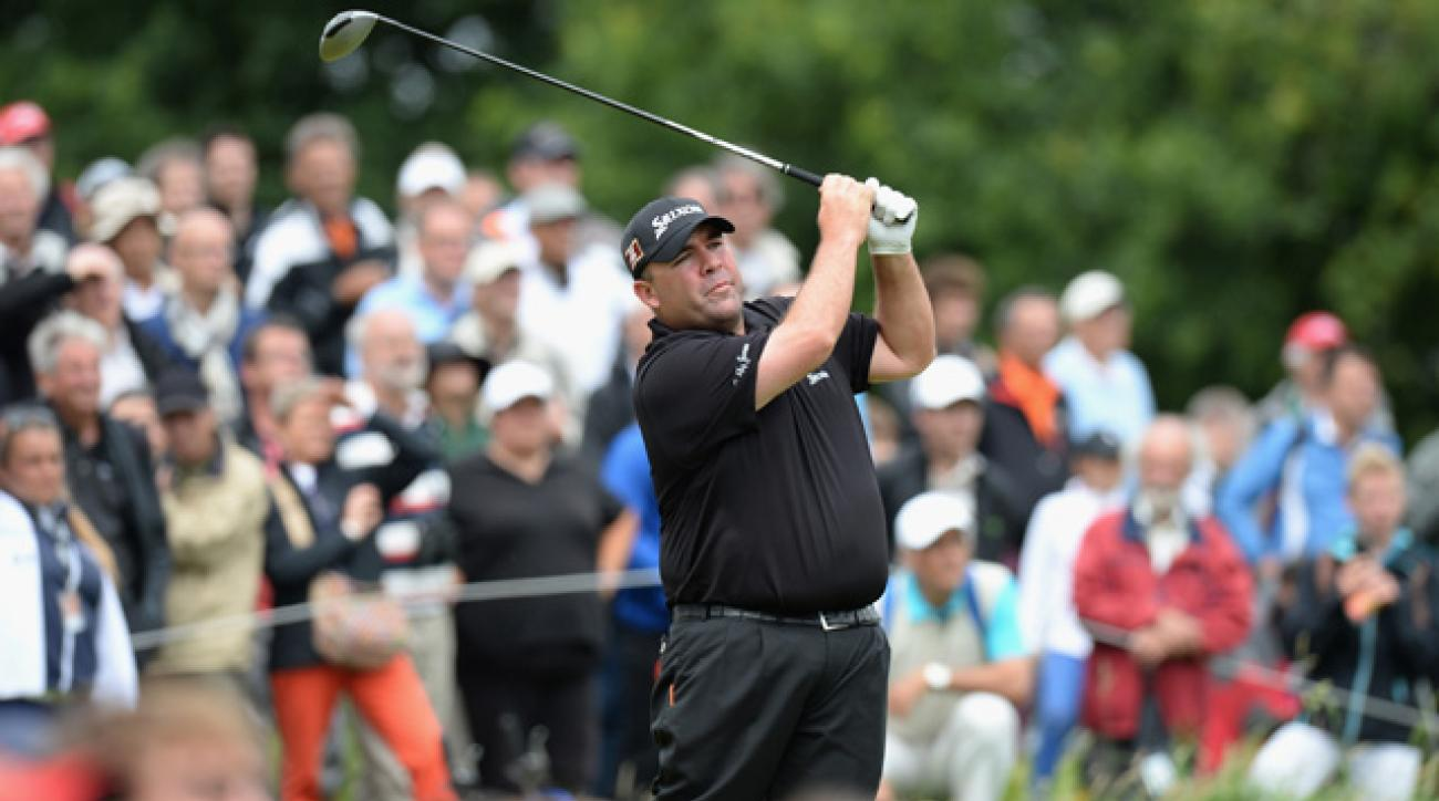 Kevin Stadler tees off on the fourth hole at Le Golf National in Paris, France.