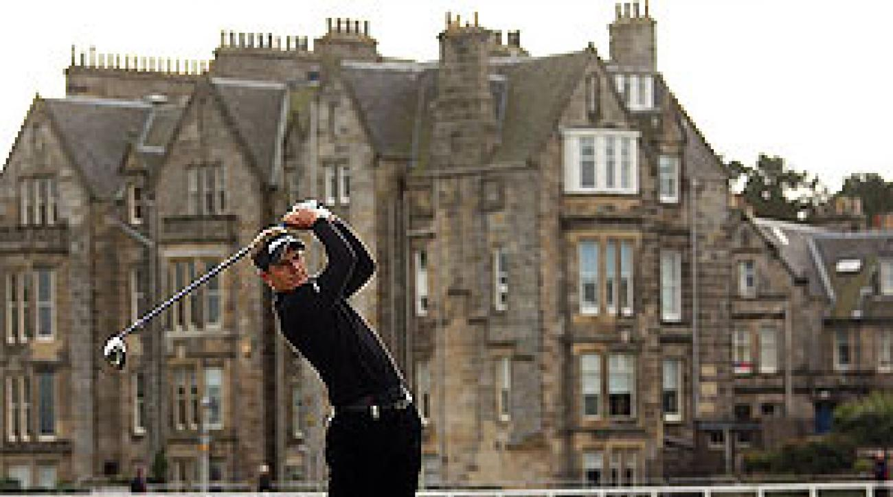 Luke Donald, wearing Polo RLX, at the Old Course at St. Andrews