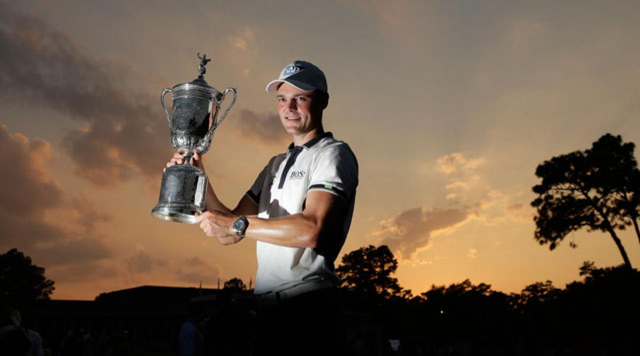 Kaymer claimed the U.S. Open trophy after an 8-stroke blowout at Pinehurst.