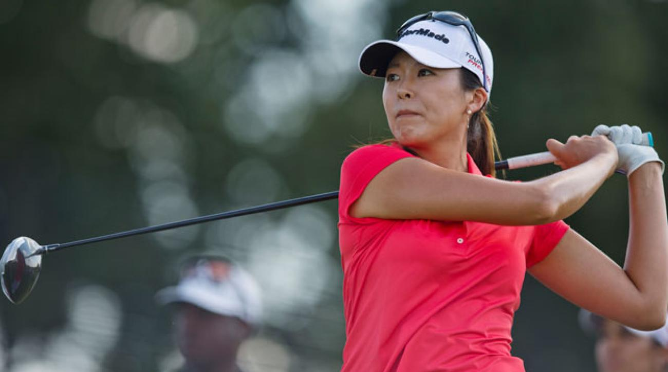 Mi Jung Hur tees off on the second hole during the final round of the Yokohama Tire LPGA Classic.