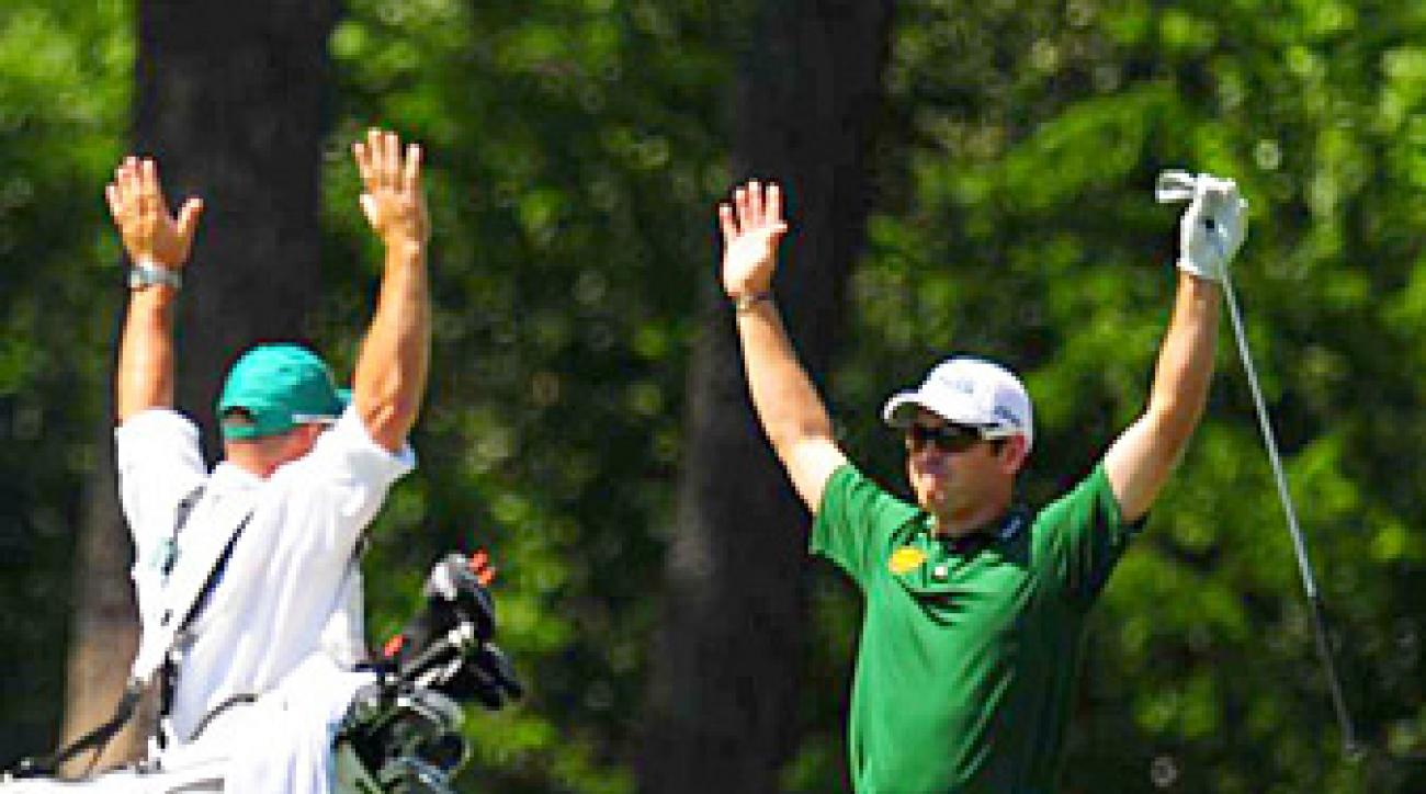 Louis Oosthuizen made the fourth double eagle in Masters history in Sunday's final round.