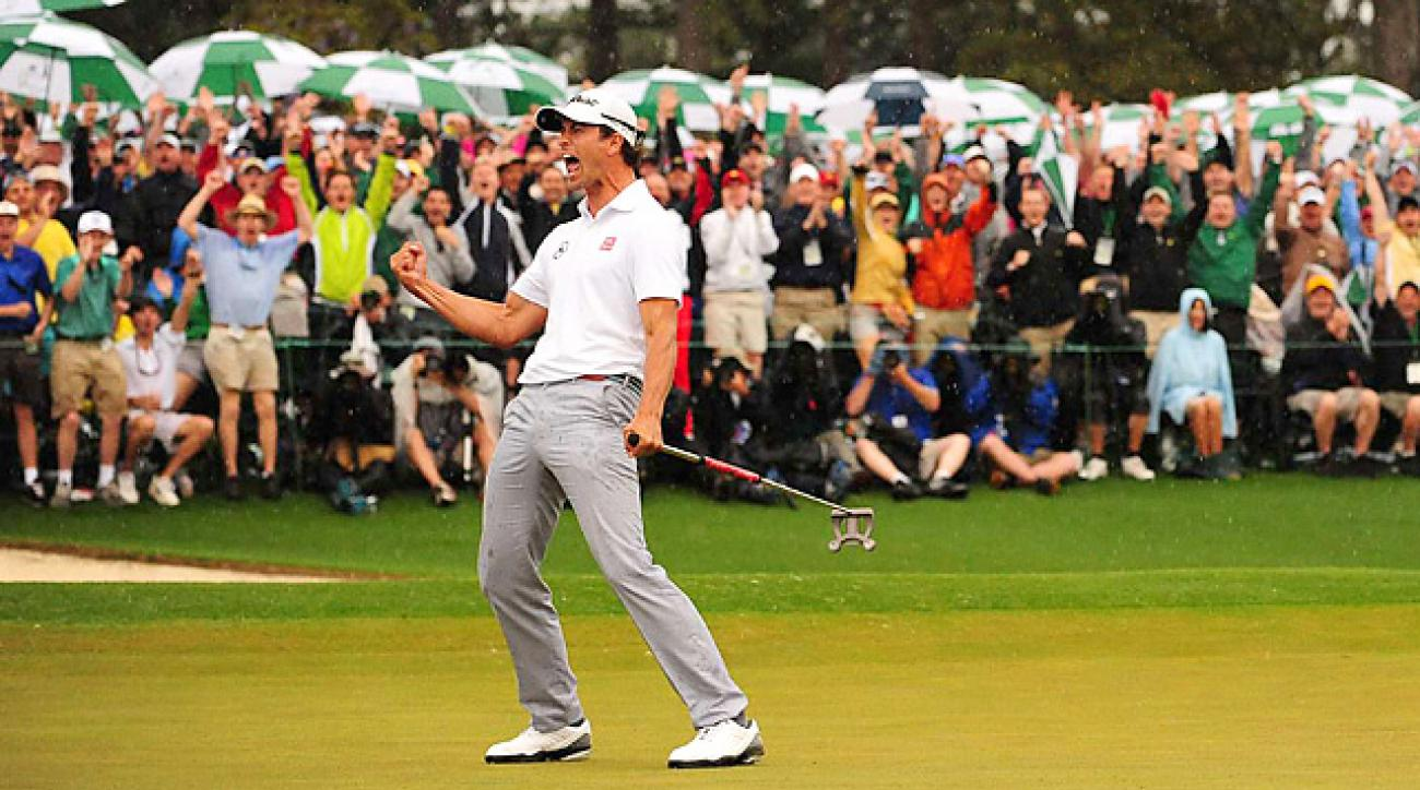 Adam Scott birdied the second hole of sudden death to defeat Angel Cabrera and win the Masters.