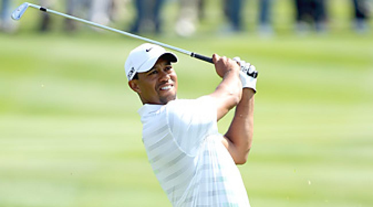 Tiger Woods is two shots off the lead through two rounds in Abu Dhabi.