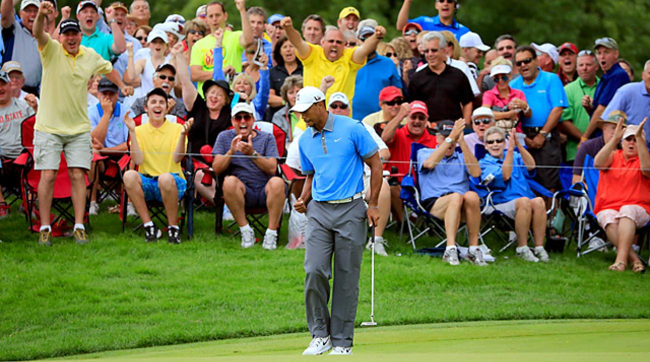 In the zone: Woods rang up seven birdies and an eagle over his first 13 holes before closing with five straight pars.