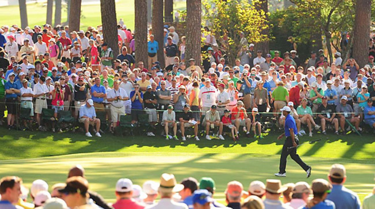 Tiger Woods had a huge following during his Monday practice round at the Masters.