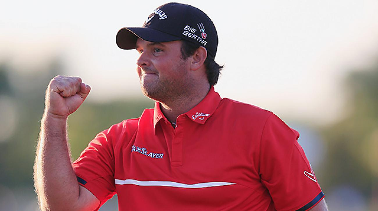Patrick Reed celebrates his one-stroke victory on the 18th green at the WGC-Cadillac Championship.