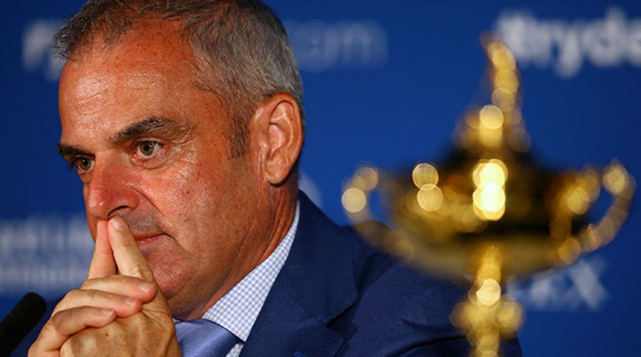 European Ryder Cup captain Paul McGinley announces his captain's picks during a press conference at Wentworth.