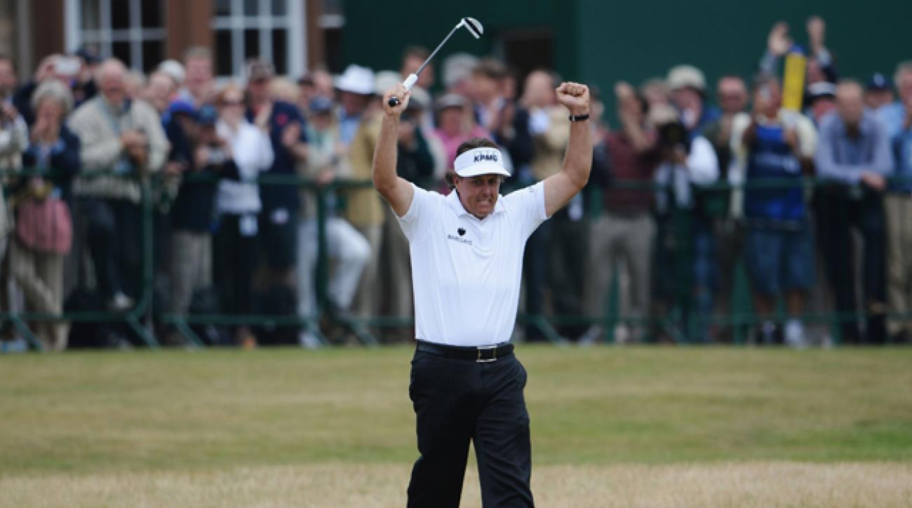 Phil Mickelson reacts to a birdie putt on the 18th hole during the final round of last year's Open Championship.
