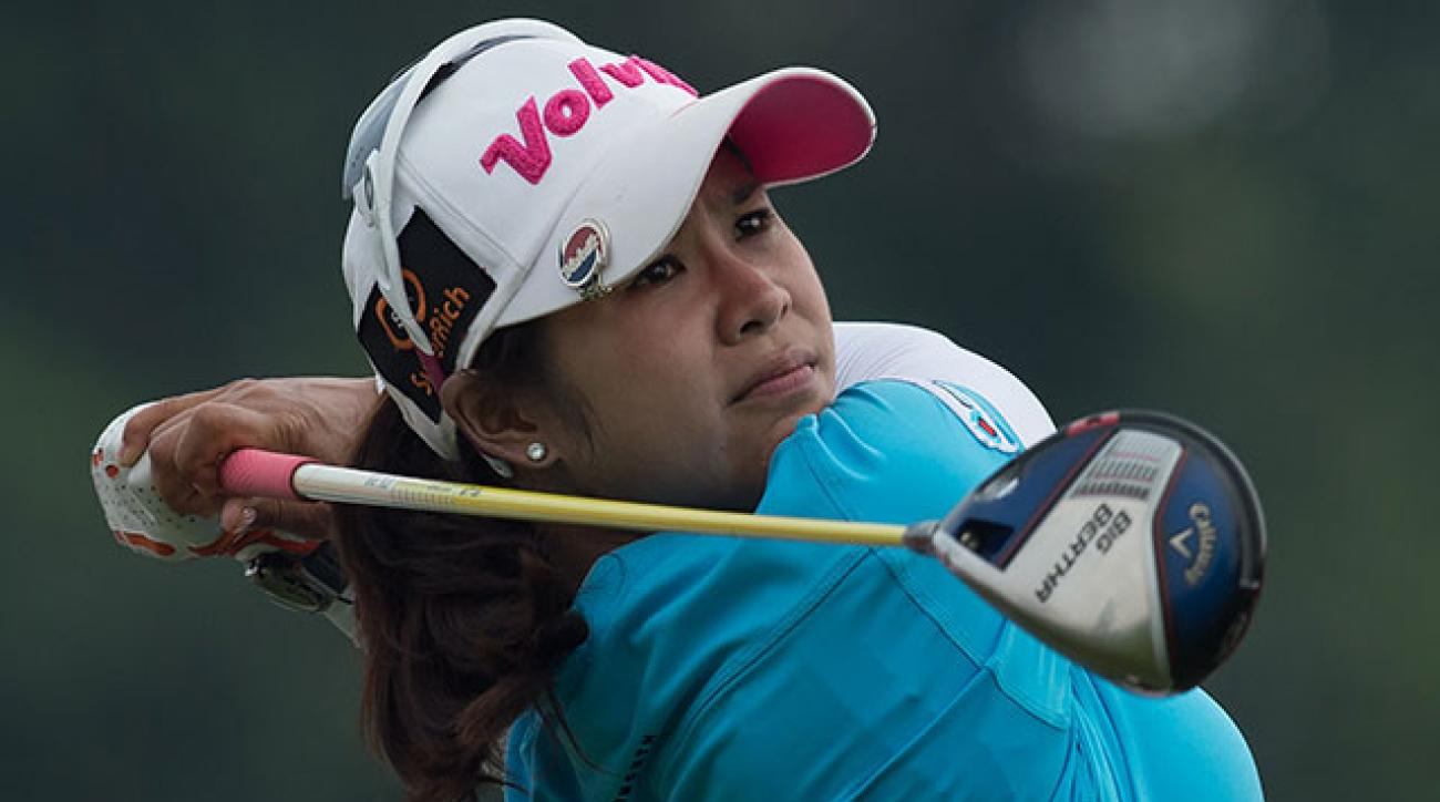 Pornanong Phatlum tees off on the 18th hole during the third round of the Sime Darby LPGA Malaysia tournament.