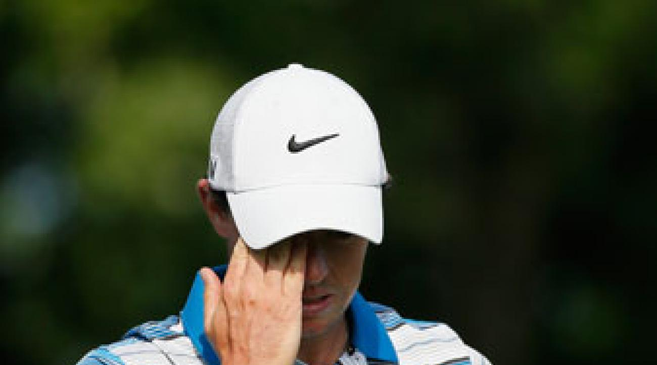 Rory McIlroy walks to the seventh hole Saturday.