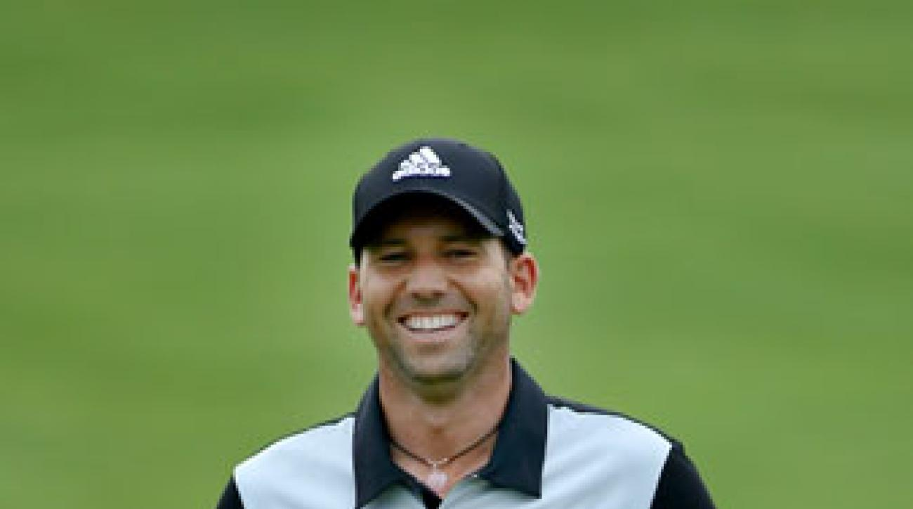 Sergio Garcia smiles during a practice round at Valhalla Golf Club prior to the start of the PGA Championship.