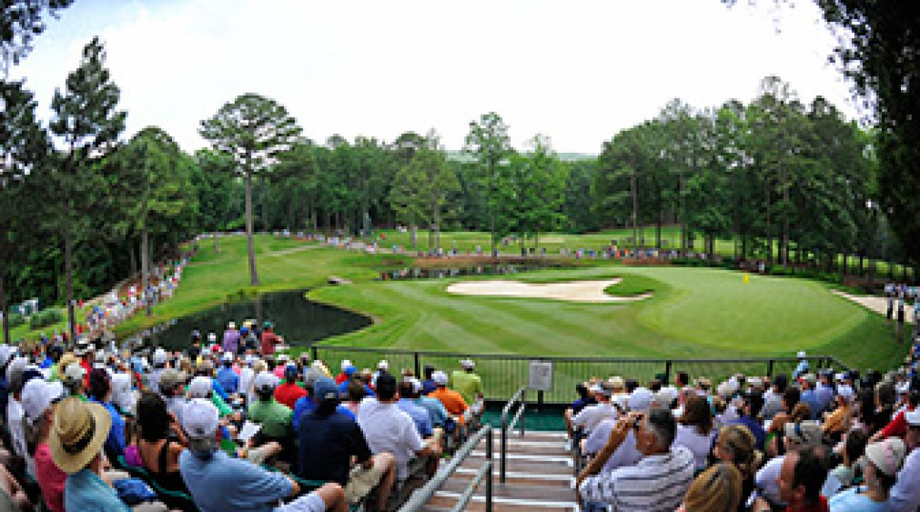 A view of the 8th green during the 2013 Regions Tradition at Shoal Creek in Birmingham, Alabama.