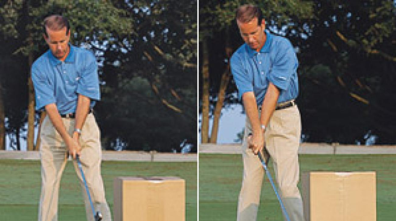 Step 1, left: Position a cardboard box in the center of your target line. Step 2, let the toe of the club cut into the box.