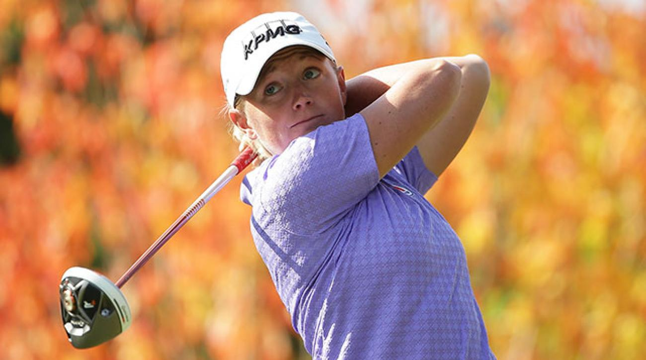 Stacy Lewis tees off during the second round of the Mizuno Classic.