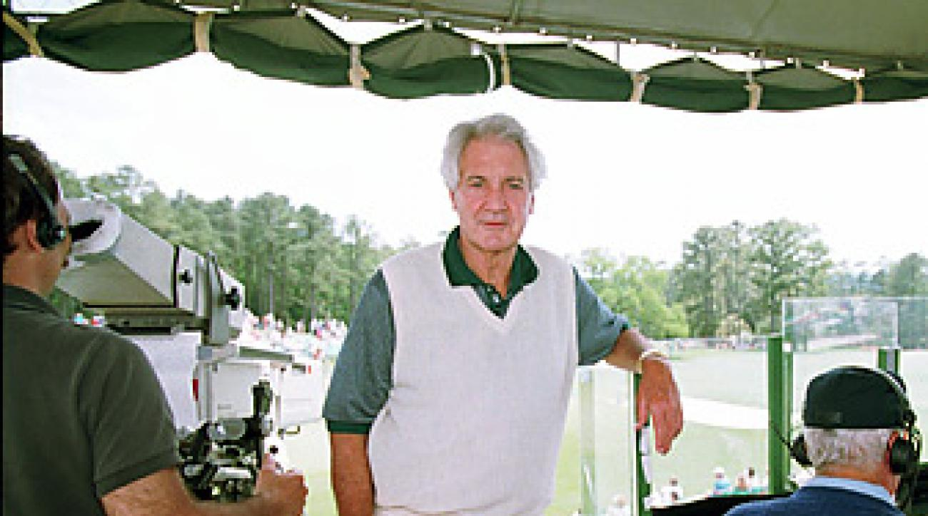 Pat Summerall, shown here in the 18th hole tower at the 1994 Masters.