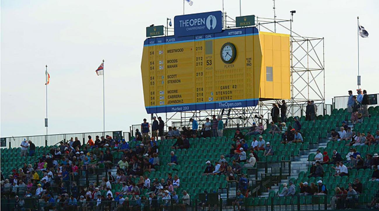 Before the final groups came through, the bleachers alongside the 18th fairway had many empty seats on Saturday.