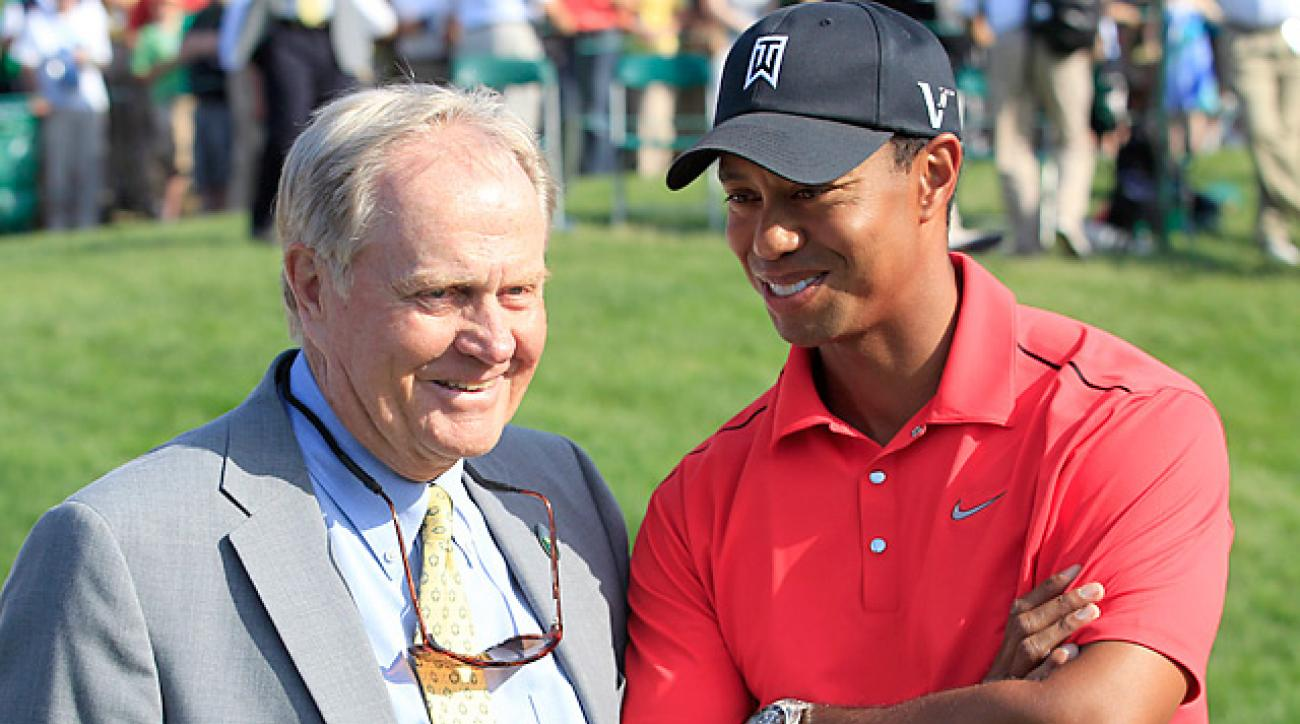 Jack Nicklaus still leads Tiger Woods (shown here at the 2012 Memorial) 18 majors to 14.