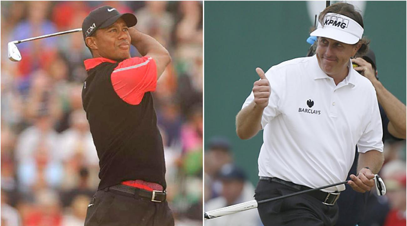 Tiger Woods and Phil Mickelson will face similar pressure while trying to accomplish their next career milestones: a 15th major, and a career Grand Slam.