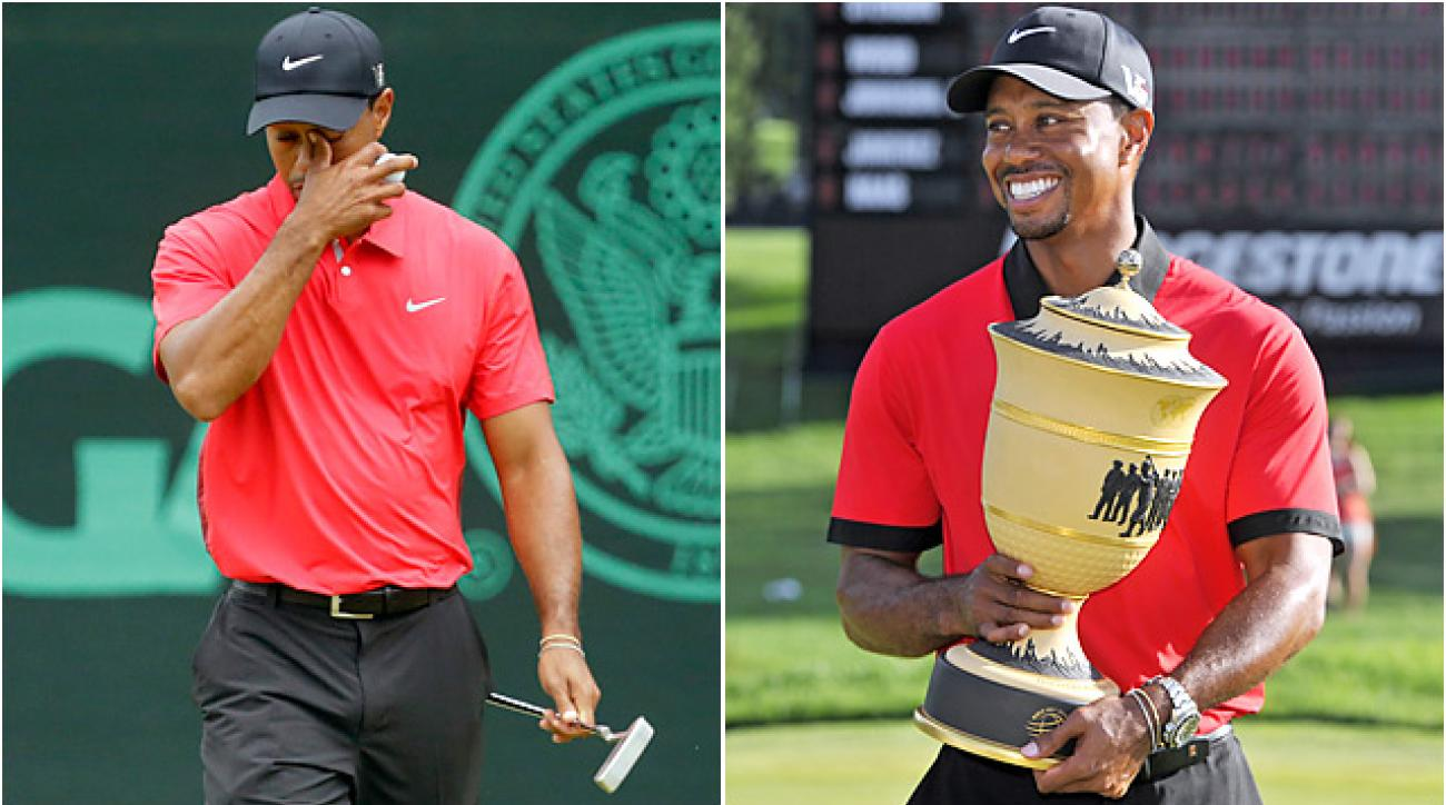 Tiger Woods has struggled in the majors, including the U.S. Open at Merion (left). But he's also won five events this year, including the Bridgestone Invitational (right).