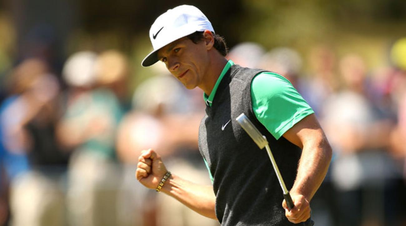 Thorbjorn Olesen celebrates his birdie putt on the 15th hole during the final round of the Perth International.