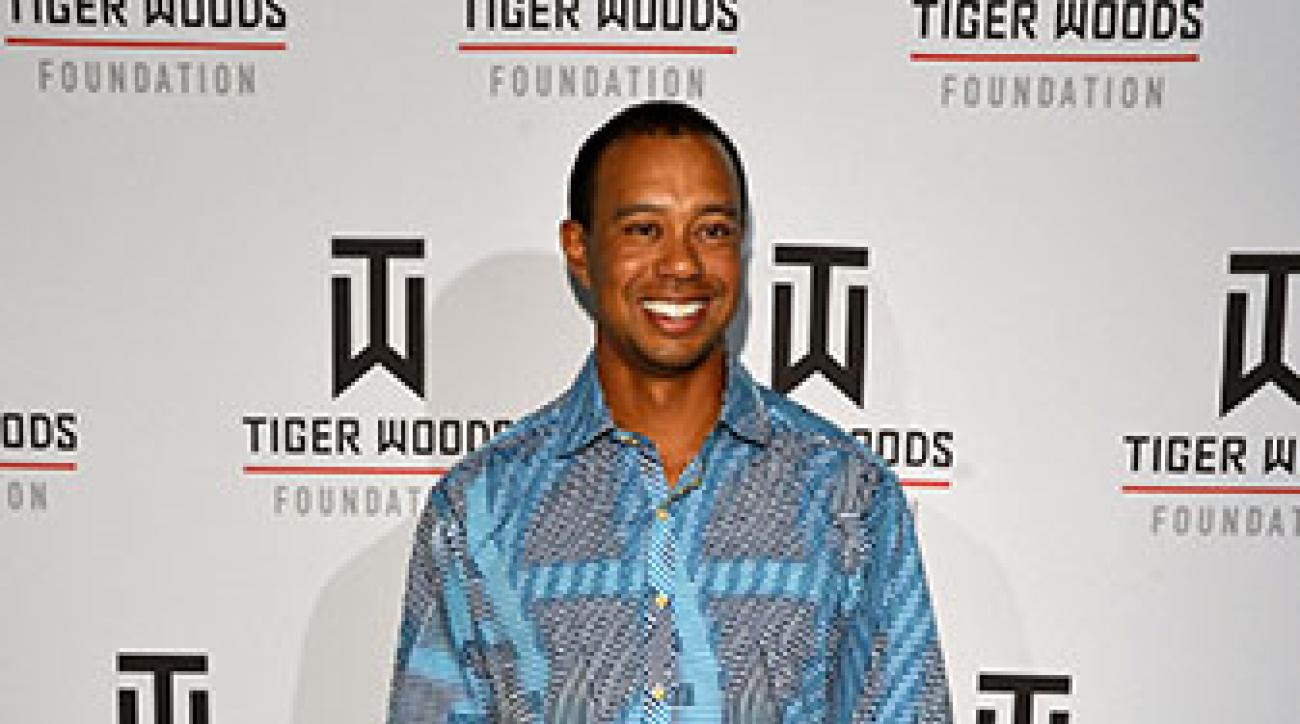 Tiger Woods arrives at Tiger Jam 2012, an annual event benefitting the Tiger Woods Foundation.