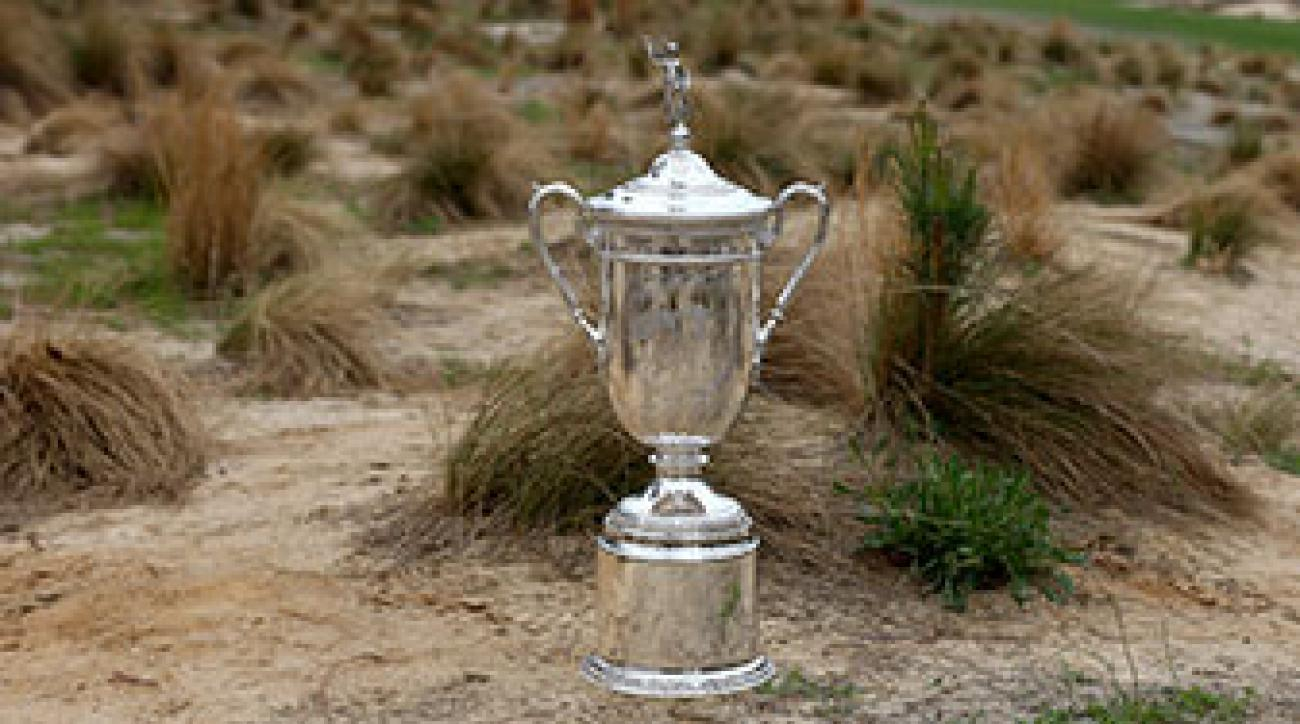 The men's U.S. Open trophy at Pinehurst No. 2.