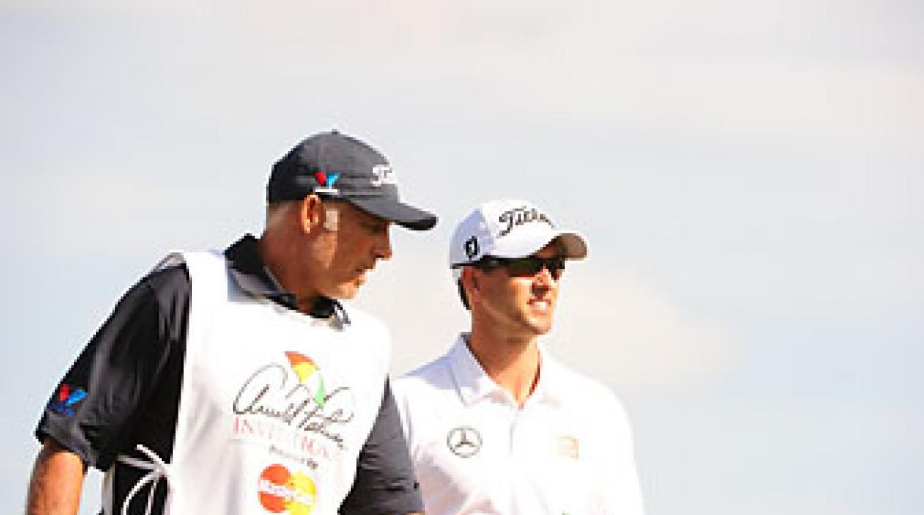 Adam Scott and former caddie Steve Williams at the 2014 Arnold Palmer Invitational.